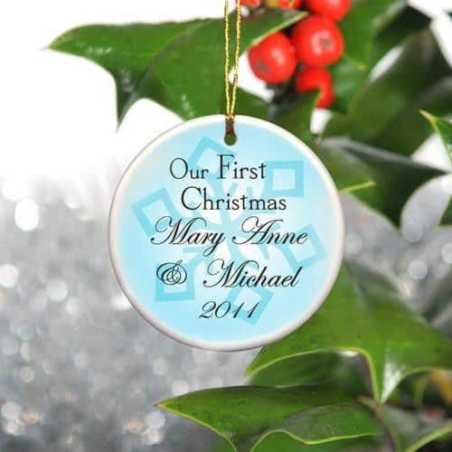 Our First Christmas Ceramic Ornament with Snowflake Backdrop-Christmas-Here Comes The Bling™