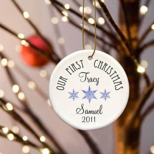 Our First Christmas Ceramic Ornament with Three Snowflakes-Christmas-Here Comes The Bling™