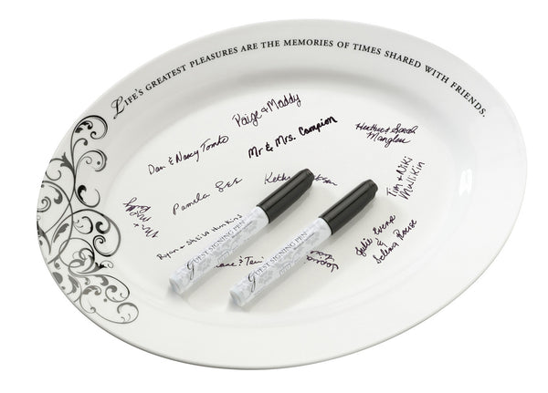 Oval Ceramic Sign Plate w/Pens-Guest Books-Here Comes The Bling™