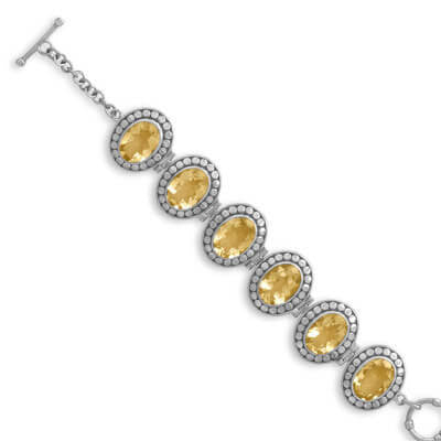 Oval Citrine Oxidized Silver Toggle Bracelet-Bracelets-Here Comes The Bling™