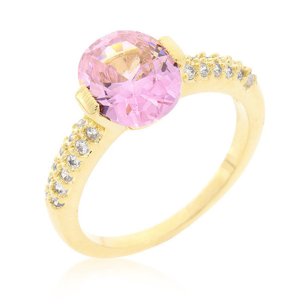 Oval Cubic Zirconia Engagement Ring in Gold and Pink-Rings-Here Comes The Bling™
