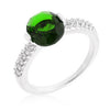 Oval Cubic Zirconia Ring in Rhodium and Green-Rings-Here Comes The Bling™