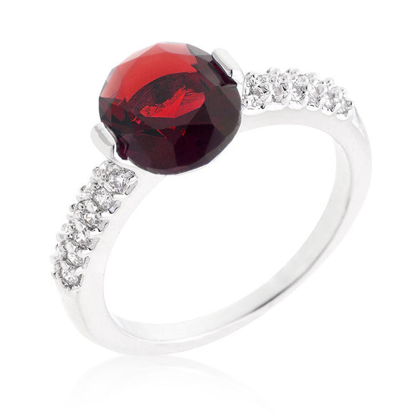 Oval Cubic Zirconia Ring in Rhodium and Red-Rings-Here Comes The Bling™