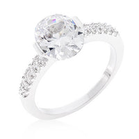 Oval Cubic Zirconia Ring in Rhodium-Rings-Here Comes The Bling™