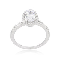 Oval-Cut Floating Halo Cubic Zirconia Engagement Ring-Rings-Here Comes The Bling™