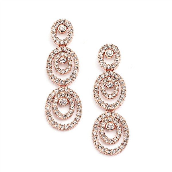 Oval Rose Gold and CZ Earrings-Earrings-Here Comes The Bling™
