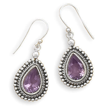Oxidized Amethyst with Bead Edge Earrings-Earrings-Here Comes The Bling™