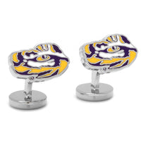 Palladium LSU Tiger's Eye Cufflinks-Cufflinks-Here Comes The Bling™
