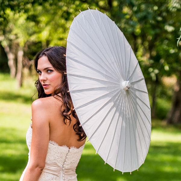 Paper Parasol with Bamboo Boning (Available in 18 Colors)-Parasol-Here Comes The Bling™