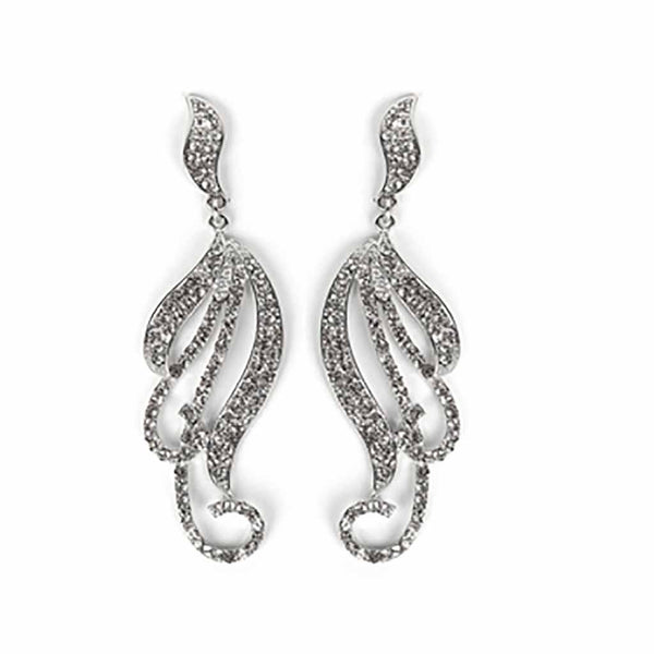 Pave Curling Vines Statement Earring-Earrings-Here Comes The Bling™