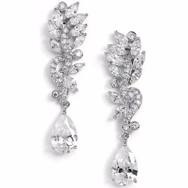 Pave CZ Bridal Earrings with Marquis Leaves & Pear Drop-Earrings-Here Comes The Bling™