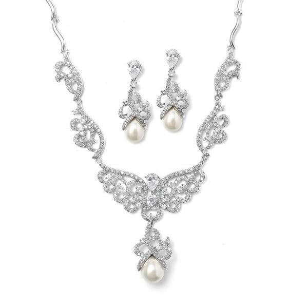Pave CZ Scroll Bridal Necklace Set with Pearl Drop-Sets-Here Comes The Bling™