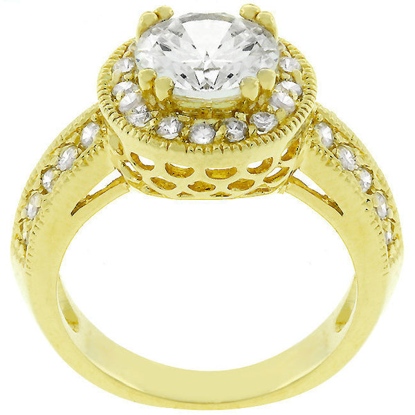 Pave Halo Vintage Crown Ring-Rings-Here Comes The Bling™