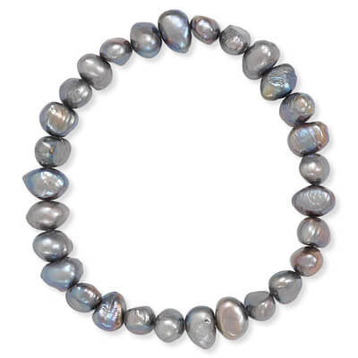 Peacock Cultured Freshwater Pearl Stretch Bracelet-Bracelets-Here Comes The Bling™