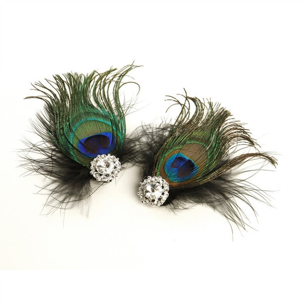 Peacock Feather & Black Marabou Shoe Clips with Crystal-Brooches-Here Comes The Bling™