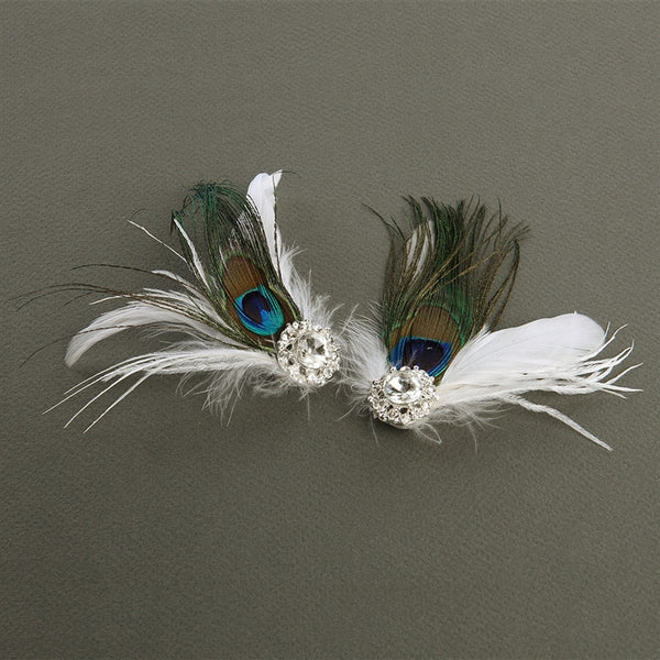 Peacock Feather & White Marabou Shoe Clips with Crystal-Brooches-Here Comes The Bling™
