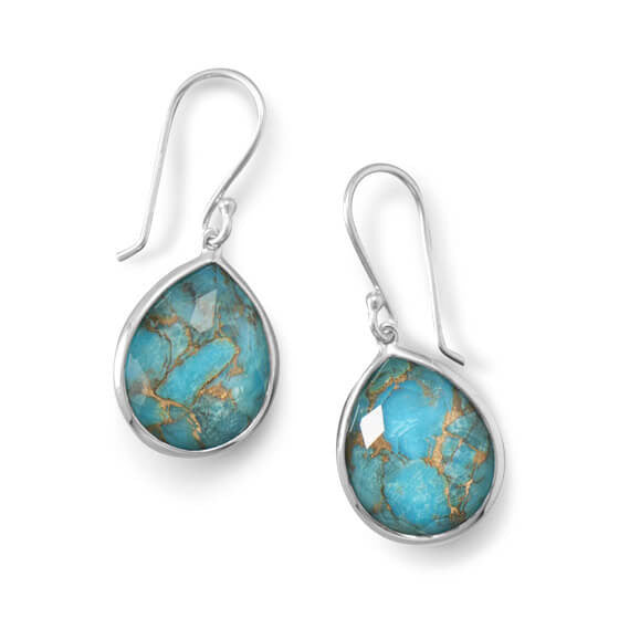 Pear Shape Freeform Faceted Quartz over Turquoise Drop Earrings-Earrings-Here Comes The Bling™