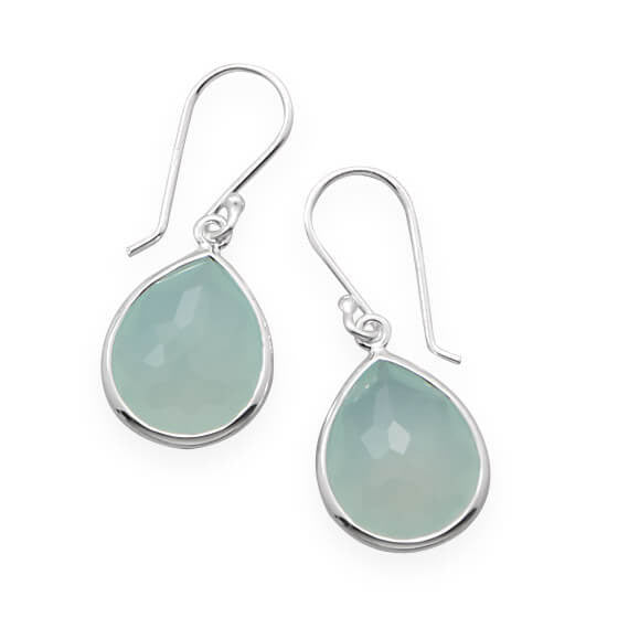 Pear Shape Freeform Faceted Synthetic Green Chalcedony Earrings-Earrings-Here Comes The Bling™