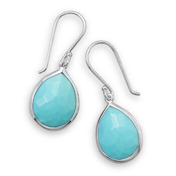 Pear Shape Freeform Faceted Turquoise Drop Earrings-Earrings-Here Comes The Bling™