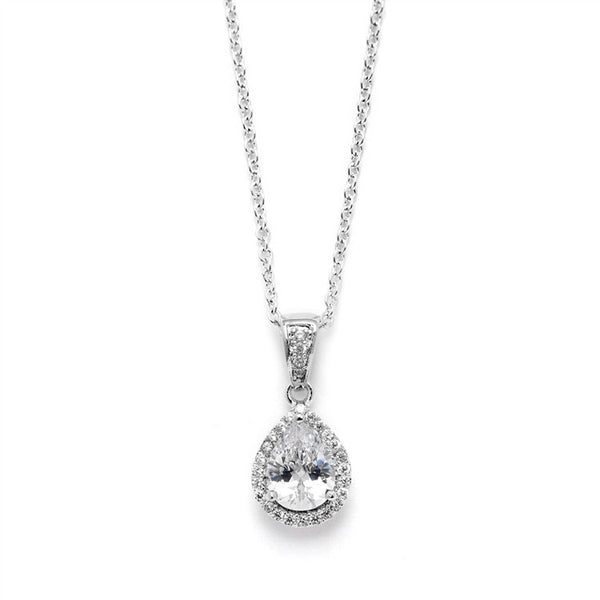 Pear-Shape Solitaire Pendant with Pave Frame-Necklaces-Here Comes The Bling™
