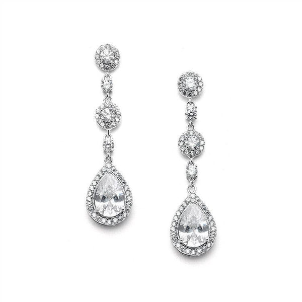 Pear-shaped Micro-Pave CZ Silver Bridal Earrings-Earrings-Here Comes The Bling™