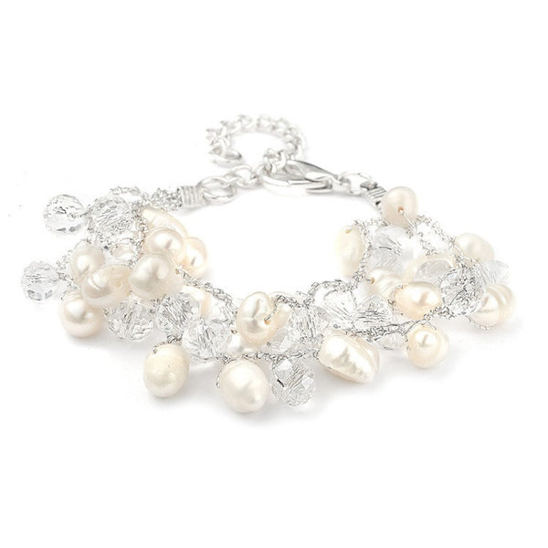 Pearl and Crystal Cluster Bridal Bracelet-Bracelets-Here Comes The Bling™