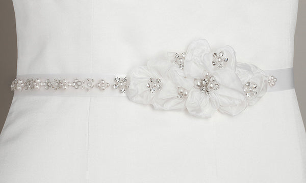 Pearl and Crystal Flower Cluster Sash (Available in Ivory or White)-Sash-Here Comes The Bling™