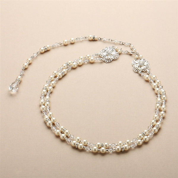 Pearl and Filigree 2-Row Bridal Back Necklace-Back Necklace-Here Comes The Bling™