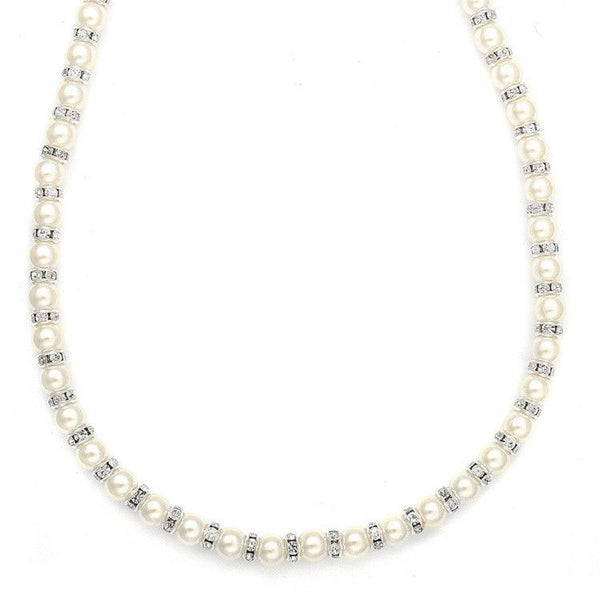 Pearl and Rhinestone Rondelle Necklace-Necklaces-Here Comes The Bling™