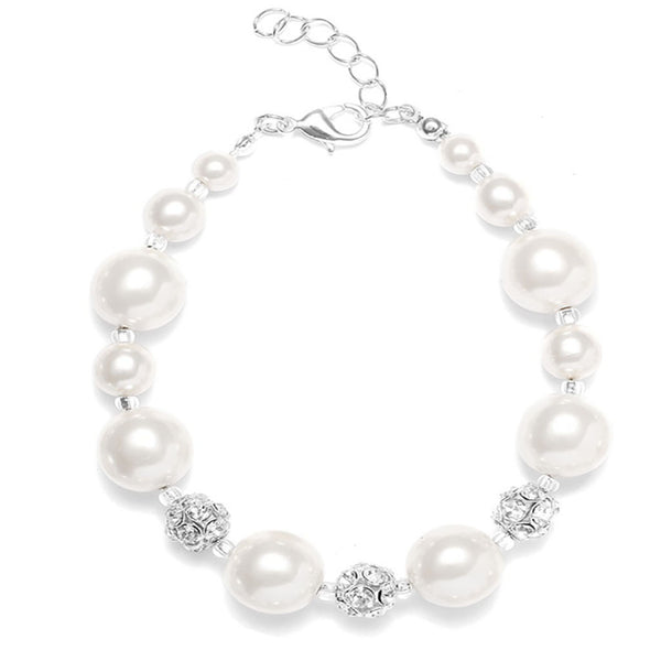 Pearl Bracelet with Rhinestone Fireballs-Bracelets-Here Comes The Bling™