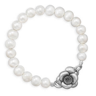 Pearl Bracelet with Silver Flower Clasp-Bracelets-Here Comes The Bling™