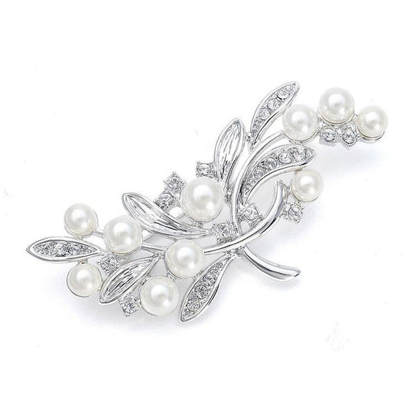 Pearl Bridal Brooch with CZ Leaves-Brooches-Here Comes The Bling™