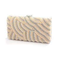 Pearl Bridal Evening Bag with Bezel Crystals in Honey-Clutch-Here Comes The Bling™