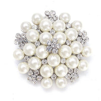 Pearl Cluster Bridal Brooch with Crystal-Brooches-Here Comes The Bling™