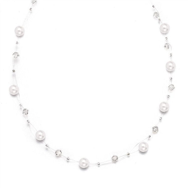 Pearl & Crystal Bridal or Bridesmaids Illusion Necklace in Honey-Necklaces-Here Comes The Bling™