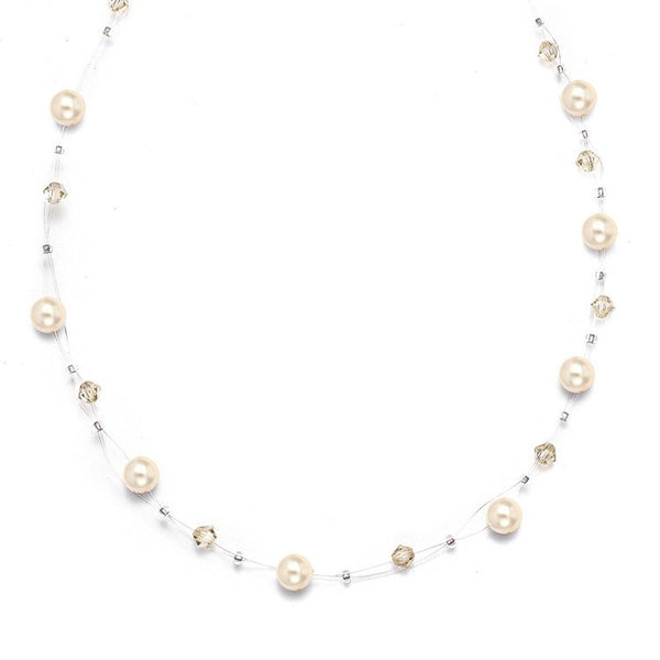 Pearl & Crystal Bridal or Bridesmaids Illusion Necklace-Necklaces-Here Comes The Bling™