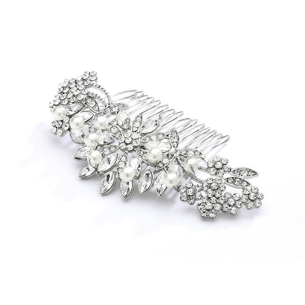 Pearl, Crystal & Lucite Sunburst Wedding or Prom Comb-Combs-Here Comes The Bling™