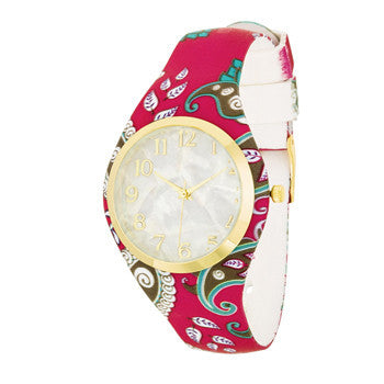 Pearl Dial And Pink Rubber Strap Watch-Watches-Here Comes The Bling