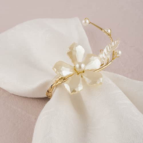 Pearl & Vintage Gold Wire Ornamental Floral Mini Ring Pack of 8-Decor-Napkin Rings-Here Comes The Bling™