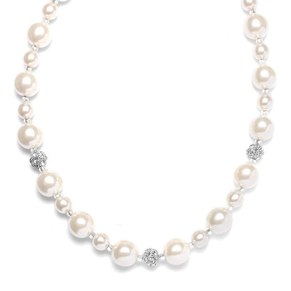 Pearl Wedding Necklace with Rhinestone Fireballs-Necklaces-Here Comes The Bling™