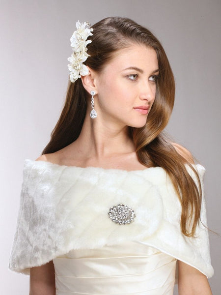Pelted Faux Fur Vintage Bridal Wrap-Wrap-Here Comes The Bling™