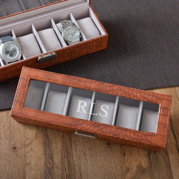 Personalized Brown Crocodile Watch Box-Mens-Cases-Here Comes The Bling™