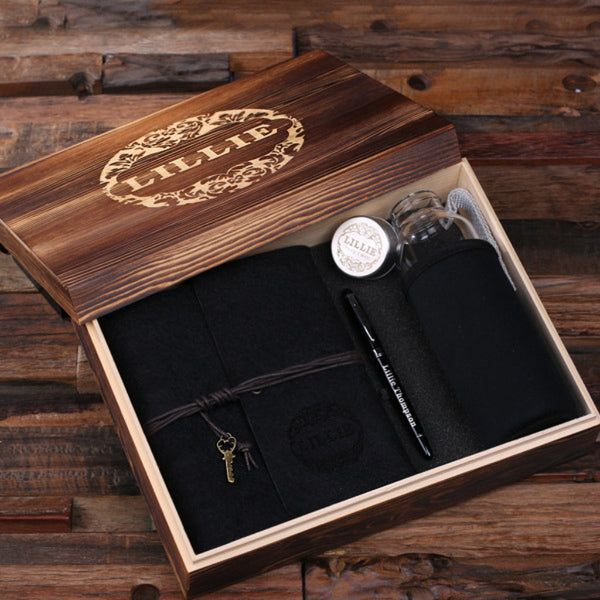 Personalized Felt Journal Water Bottle Pen and Wood Box in Black-Journals-Here Comes The Bling™