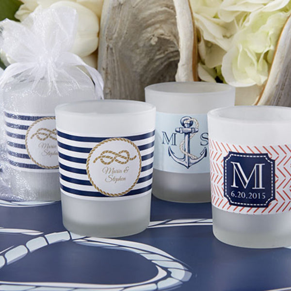"""Nautical Wedding Collection"" Personalized Frosted Glass Votive (Set of 24)"