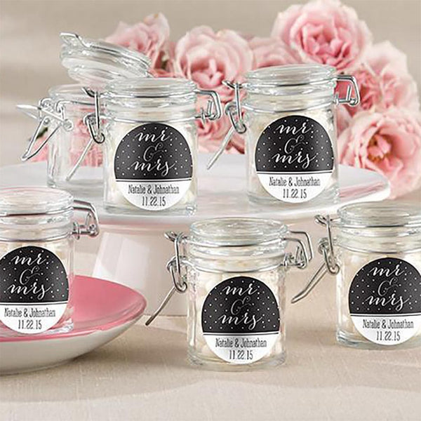 Personalized Glass Favor Jars - Mr. & Mrs. (Set of 24)-Favors-Jar-Here Comes The Bling™