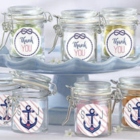 Personalized Glass Favor Jars - these Nautical Bridal Shower Collection (Set of 12)-Favors-Jar-Here Comes The Bling™