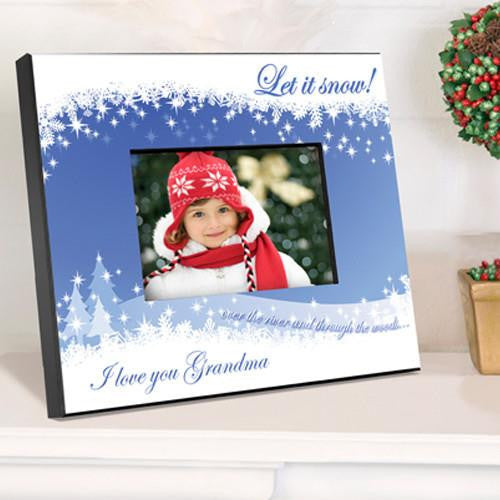 Personalized Holiday Picture Frame - Snowcapes-Christmas-Here Comes The Bling™