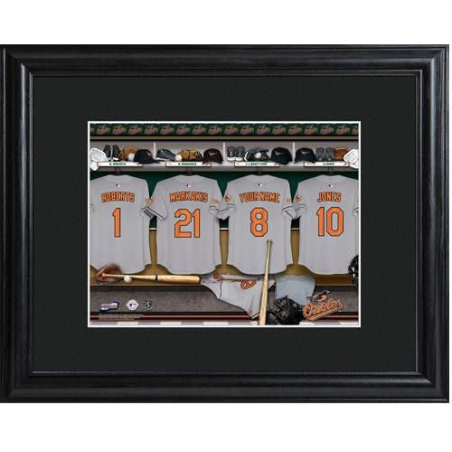 Personalized MLB Clubhouse Print w/Matted Frame - ORIOLES-Art-Here Comes The Bling™