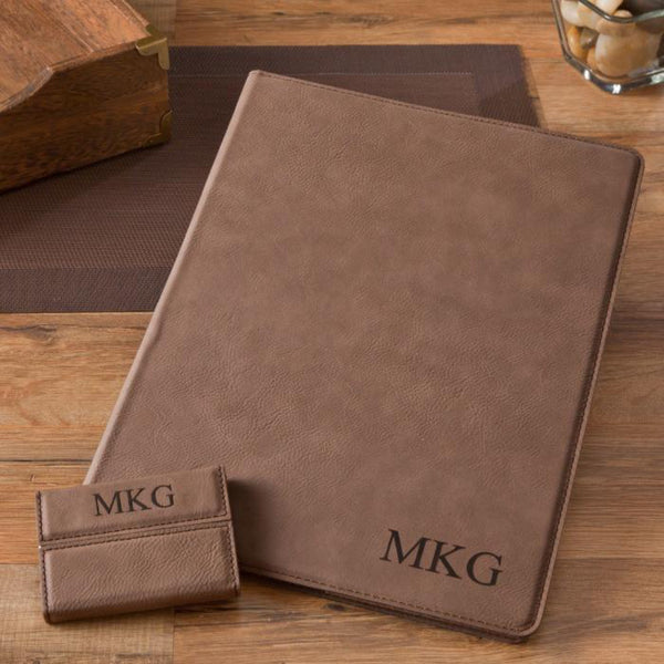 Personalized Mocha Microfiber Portfolio & Business Card Case Set