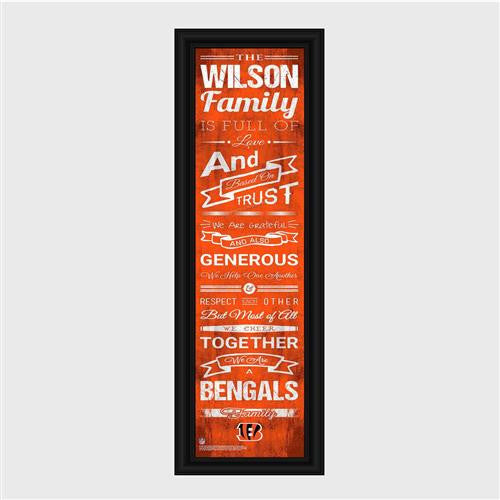 Personalized NFL Family Cheer Print & Frame - Bengals-Art-Here Comes The Bling™